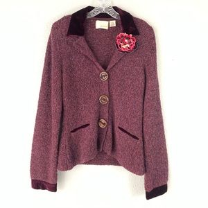 Anthro Guinevere Purple Coming Up Roses Cardigan